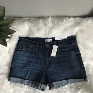 Loft Dark Wash No Rips Cuffed Shorts NWT